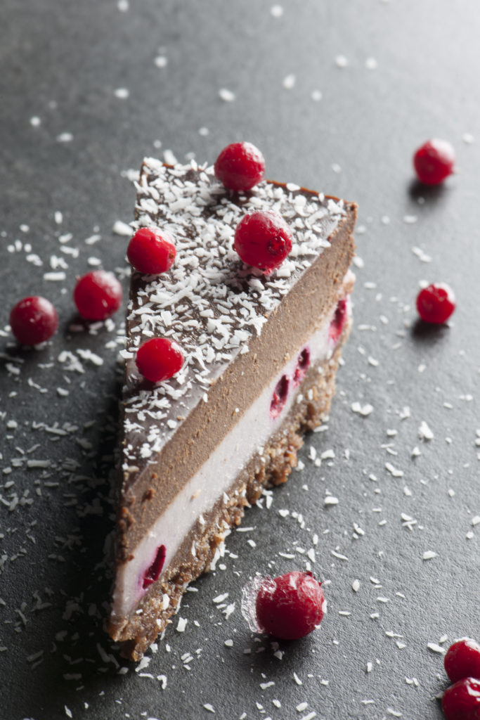 Lingonberry Chocolate Raw Cake